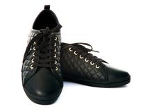 Black sport shoes Royalty Free Stock Images