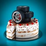 Black sport wheels Royalty Free Stock Photos