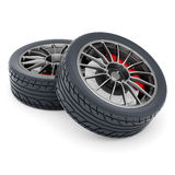 Black sport wheels Stock Images