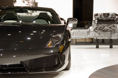Black sports car. Black Lamborghini Estoque. The car was presented by Lamborghini on 79th International Motor Show in Geneva royalty free stock image
