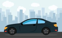 Black sports car in the background of skyscrapers in the afternoon. Vector illustration Royalty Free Stock Images