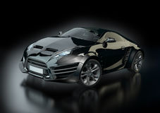Black sports car on a black background Royalty Free Stock Image