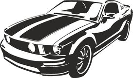 Black sports car. Vector ilustration suitable for cutter plotter Stock Photography
