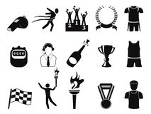 Black sports icons set Royalty Free Stock Photo