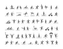 Black sports icons set. Vector figures athletes. Stock Images