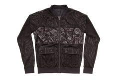 Black sports jacket, unisex sweatshirt on white, isolated  varsi. Ty jacket, soccer jacket Royalty Free Stock Photos