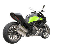 Black sports motorcycle with green details Royalty Free Stock Image