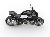 Black sports motorcycle - side top view Royalty Free Stock Photos