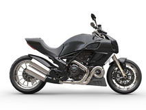 Black sports motorcycle - side view Royalty Free Stock Image