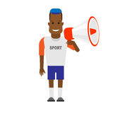 Black sportsman with megaphone Royalty Free Stock Images