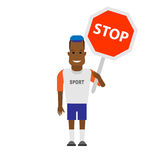 Black sportsman with stop sign Stock Images