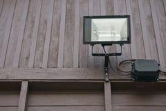 Black spotlight on brown wall wood Royalty Free Stock Photos