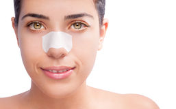 Clean skin blackspots on nose stock photography