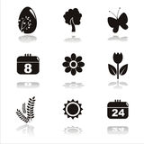 Black spring icons. Set of 9 black spring icons Stock Images