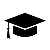Black square academic cap vector icon. Isolated on white background Royalty Free Stock Images