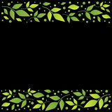 Black square background with decorative stripes align top and below with green leaves and dots vector illustration
