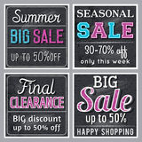 Black square banners with sale offer, vector Stock Photos