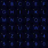 Black Square Blue Glow Alphabet Number Buttons. Black Glossy Square Buttons With Blue Glowing Letters Numbers And Edges Royalty Free Stock Photo