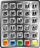 Black square buttons Stock Photos