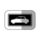 Black square with car side inside. Illustration design Stock Images