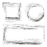 Black square, circle and rectangle grunge border Stock Photo