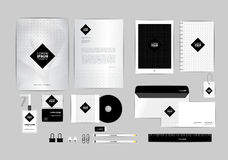 Black and square corporate identity template for your business Stock Photo