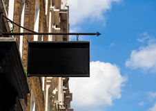 Black square display billboard plate in the city Royalty Free Stock Photos