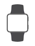 Black square-faced smartwatch with blank screen on white stock illustration