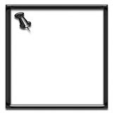 Black square frame with pin. Black shiney frame shape with push pin on white background Royalty Free Stock Images