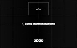 Black square with a grid, logo, telephoe, e-mail Stock Photography
