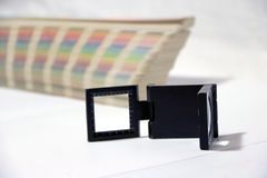 Black square Magnifying glass and Rainbow Sample Colors Palette Catalog. stock images