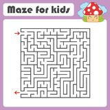 Black square maze with entrance and exit. With a cute cartoon mushroom. Simple flat vector illustration isolated on white backgrou. Nd Royalty Free Stock Images