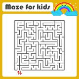 Black square maze with entrance and exit. With a cute cartoon of a rainbow. Simple flat vector illustration isolated on white back. Ground royalty free illustration