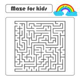 Black square maze with entrance and exit. With a cute cartoon of a rainbow. Simple flat vector illustration isolated on white back. Ground stock illustration