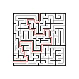 Black square maze with entrance and exit. A game for children and adults. Simple flat vector illustration isolated on white backgr. Ound. With the answer Royalty Free Stock Image
