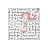 Black square maze with entrance and exit. A game for children and adults. Simple flat vector illustration isolated on white backgr. Ound. With the answer Royalty Free Stock Photo