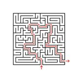 Black square maze with entrance and exit. A game for children and adults. Simple flat vector illustration isolated on white backgr. Ound. With the answer Royalty Free Stock Images
