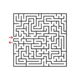 Black square maze with entrance and exit. A game for children and adults. Simple flat vector illustration isolated on white backgr. Ound Stock Images
