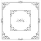Black square ornate borders with vignette corners. Vignette, text divider, header Stock Photos