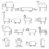 Black square outline digital simple retro animals Stock Photos
