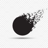 Black square stone with debris isolated. Abstract black explosion. Geometric illustration. Vector circle destruction stock illustration