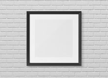 Black squared wooden frame on wall background 3D rendering stock illustration