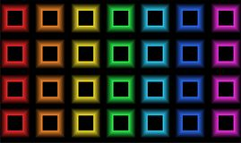 Black squares in the glow of rainbow colors. Texture. Black squares in the glow of rainbow colors. Four rows. Texture. Black background. Vector illustration royalty free illustration