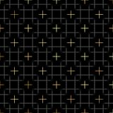 Black squares and gold star geometric pattern in repeat. Fabric print. Seamless background, mosaic ornament, ethnic style. Design vector illustration