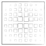Black squares on a white background in a square. Black squares on a white background, cross, different sizes,pattern, dispersion Stock Images