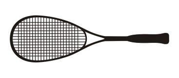 Black  squash racket on a white background Stock Photos