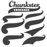 Black squiggle swoosh text font tail for baseball tshirt design. S stock illustration