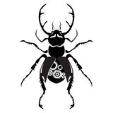 Black stag beetle with the mechanism inside Royalty Free Stock Photo