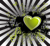 Black stain and green heart Royalty Free Stock Photography