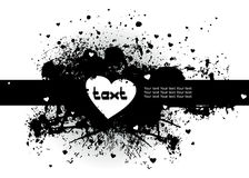 Black stain with heart and text Royalty Free Stock Images